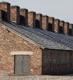 Birkenau Nazi Concentration Camp - Poland. Accommodation blocks at Auschwitz II-Birkenau, the extermination camp, where up to three million people were murdered Stock Images