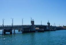 The Birkenhead Bridge across port Adelaide river in blue sky day. Birkenhead Bridge across port Adelaide river in blue sky day stock image