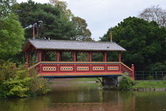 Birkenhead park fancy wooden bridge. Wirral united Kingdom Royalty Free Stock Photos