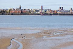 Birkenhead seen from Liverpool. Liverpool, North West England, United Kingdom stock image