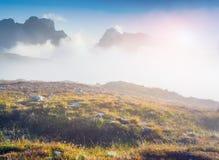 Birkenkofel mountain range in the morning mist Royalty Free Stock Image