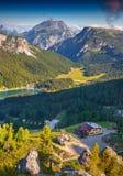 Birkenkofel mountain range at sunny summer day. Dolomites mounta Royalty Free Stock Photography
