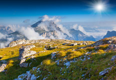 Birkenkofel mountain range at sunny summer day. Dolomites mounta Stock Images