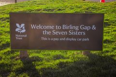 Birling Gap bei sieben Schwestern fahren in Sussex - EASTBOURNE, VEREINIGTES KÖNIGREICH - 27. FEBRUAR 2019 die Küste entlang stockfoto