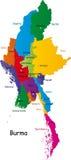 Birma mapa Zdjęcia Royalty Free