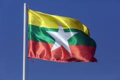 Nieuwe Nationale Vlag van Myanmar (Birma) stock afbeelding