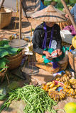Birmański tradycyjny rynek otwarty z warzywem Zdjęcie Stock