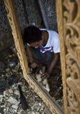 Birmaans Artisanaal de werkenhout royalty-vrije stock afbeeldingen
