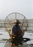 Birmaanse netto visser Royalty-vrije Stock Foto's