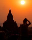 Birmania日落1 免版税库存照片