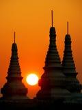 Birmania. Puesta del sol de Bagan Imágenes de archivo libres de regalías