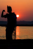 Birmania-Sonnenunterganghintergrundbeleuchtung Stockbild