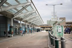 Birmingham Airport. BIRMINGHAM, UK - APRIL 19, 2013: Travelers visit Birmingham International Airport, UK. With 8.9 million travelers served it was the 7th Royalty Free Stock Image