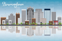 Birmingham (Alabama) Skyline with Grey Buildings, Blue Sky and r Royalty Free Stock Image
