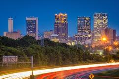 Birmingham, Alabama, USA Highway and Skyline. At dusk royalty free stock images