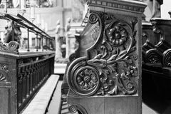 Birmingham Cathedral Decorated Bench Pew. England, Birmingham - December 19, 2016: Birmingham Cathedral Decorated Bench Pew Stock Photos