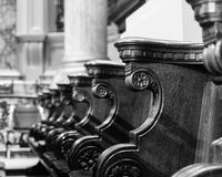 Birmingham Cathedral Decorated Bench Pew A. England, Birmingham - December 19, 2016: Birmingham Cathedral Decorated Bench Pew A Stock Photo