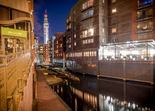 Birmingham City BT Tower and Canal. Birmingham city and canal with BT tower, canal and modern apartments Royalty Free Stock Photos
