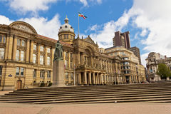 Birmingham City Council On A Sunny Day. In March with statue of Queen Victoria Royalty Free Stock Image