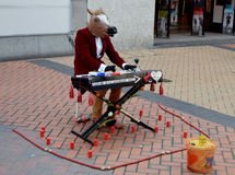In Birmingham downtown a horse playing on piano Royalty Free Stock Images