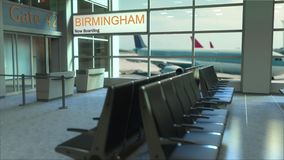 Birmingham flight boarding now in the airport terminal. Travelling to the United States conceptual 3D rendering. Birmingham flight boarding now in the airport Royalty Free Stock Photography