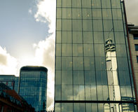 Birmingham Glass Buildings With Dramatic Clouds BT Tower Reflect Stock Photo