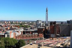 Birmingham linia horyzontu i BT wierza West Midlands Zdjęcie Royalty Free
