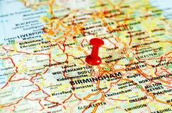 Birmingham, mapa BRITÁNICO imagenes de archivo