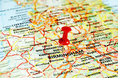 Birmingham, mapa BRITÂNICO Imagens de Stock