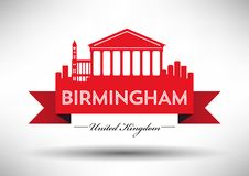 Birmingham Skyline with Typography Design stock illustration
