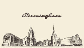 Birmingham skyline West England vector draw sketch Stock Image