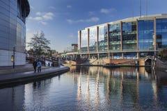 Birmingham-Stadtzentrum-Kanal in Vereinigtem Königreich lizenzfreies stockfoto