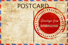 Birmingham stamp on a vintage, old postcard Royalty Free Stock Photo
