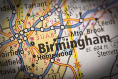 Birmingham sur la carte photo libre de droits