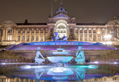 Birmingham Town Hall and water fountain at night Royalty Free Stock Photography
