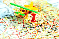 Birmingham ,UK   airplane. Close up of  Birmingham ,United Kingdom  map with airplane  toy and  red pin - Travel concept Stock Image