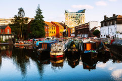 Birmingham, UK. Boats moored in the evening Royalty Free Stock Image