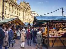 German Market in Birmingham, United Kingdom. BIRMINGHAM, UK - DECEMBER 01, 2017: German Market Stalls at Bright Sunny Day royalty free stock photography