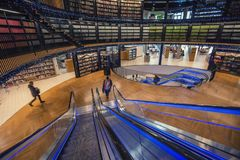 Interior of Library of Birmingham in United Kingdom. BIRMINGHAM, UK - DECEMBER 01, 2017: Modern design of public library Stock Photography