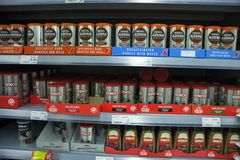 BIRMINGHAM, UK - March 2018 ASDA Coffee in Powder and Granules on Display Shelves. Instant Decaf and Espresso in royalty free stock image