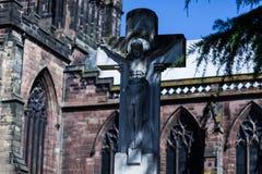 BIRMINGHAM, UK - March 2018 The Christ on the Cross War memorial in St. Peter`s Garden Wolverhampton England. Weathered stock photo