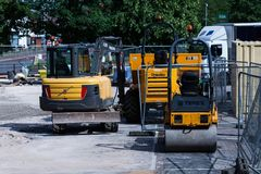 BIRMINGHAM, UK - March 2018 Civil Plant Hire Ground Equipment Resting from Activity. Construction Machinery Vehicles stock photos