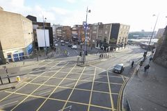 Birmingham, UK - 6 November 2016: High Angle View Of City Road Junction In Birmingham royalty free stock images