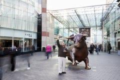 Birmingham, UK - 6 November 2016: Man Taking Selfie With Statue Outside The Bullring In Birmingham stock photo