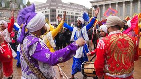 Birmingham Weekender, England. Sikh dancers at the Birmingham Weekender festival, a colourful cultural festival with theatrical, musical and dance performances Stock Photography