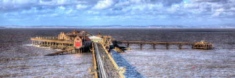 Birnbeck Pier Weston-super-Mare Somerset England in colourful HDR Royalty Free Stock Photography