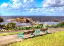 Birnbeck-Pier-Weston-Super-Stute Somerset England in buntem HDR Lizenzfreie Stockfotos