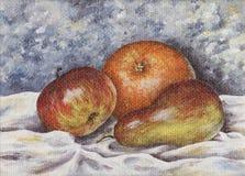 Birne, Apfel, orange Stockbild