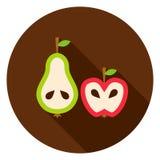 Birne Apple kreisen Ikone ein Lizenzfreie Stockbilder