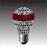 Birne des Arbeitsinspirationsgeschäftsinnovations-Forschungserfolgs Lizenzfreie Stockfotos